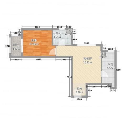 世茂蝶湖湾1室1厅1卫1厨64.00㎡户型图