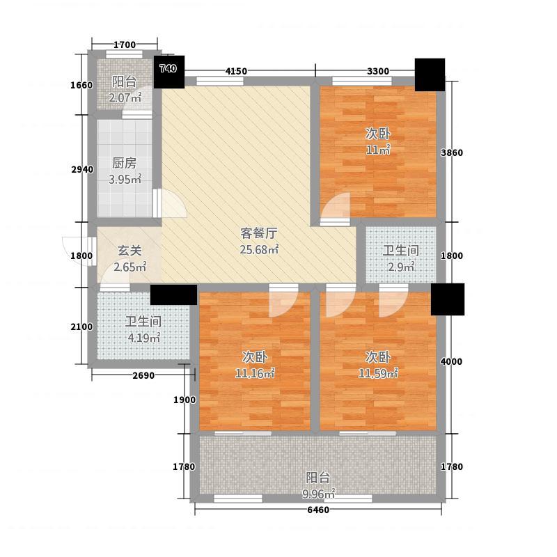 金港新城商住楼126.42㎡E户型3室2厅2卫1厨