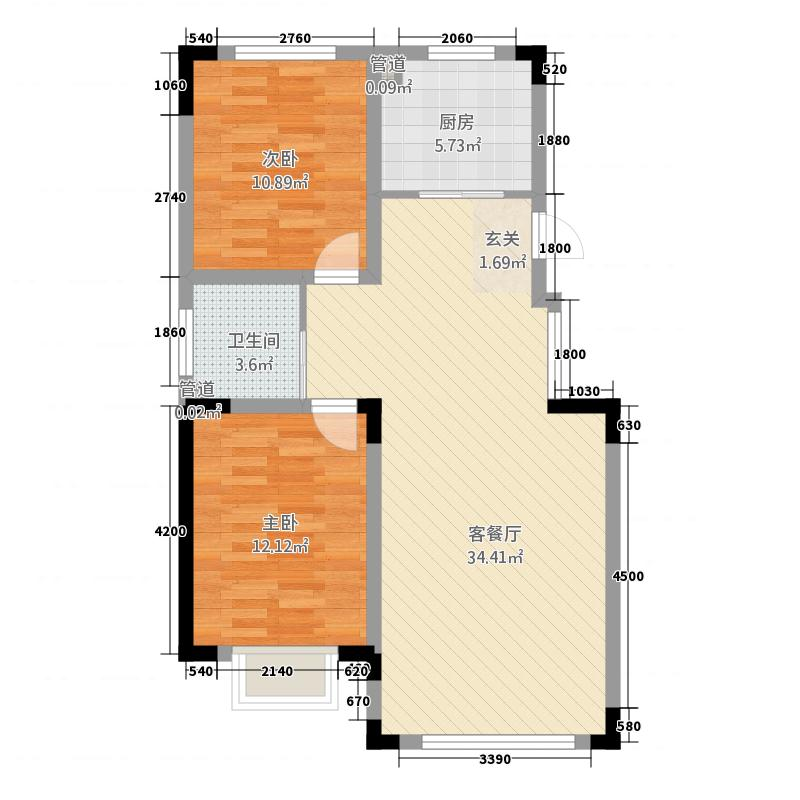 蓝色港湾215.20㎡庭落户型2室2厅1卫1厨