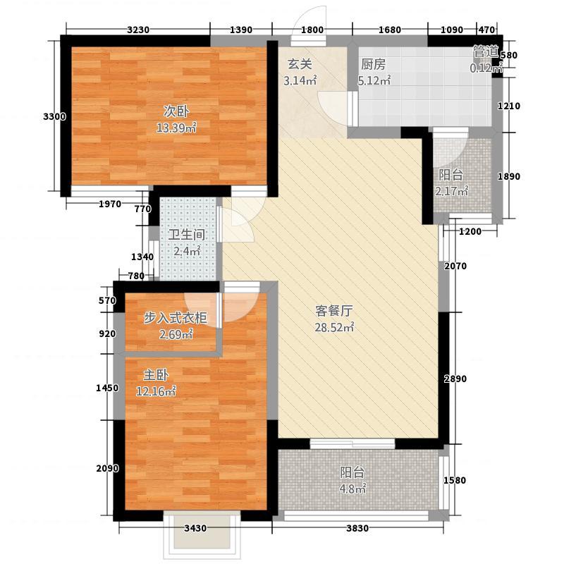 曲江・�邸367.64㎡3、6号楼A3户型2室2厅1卫1厨