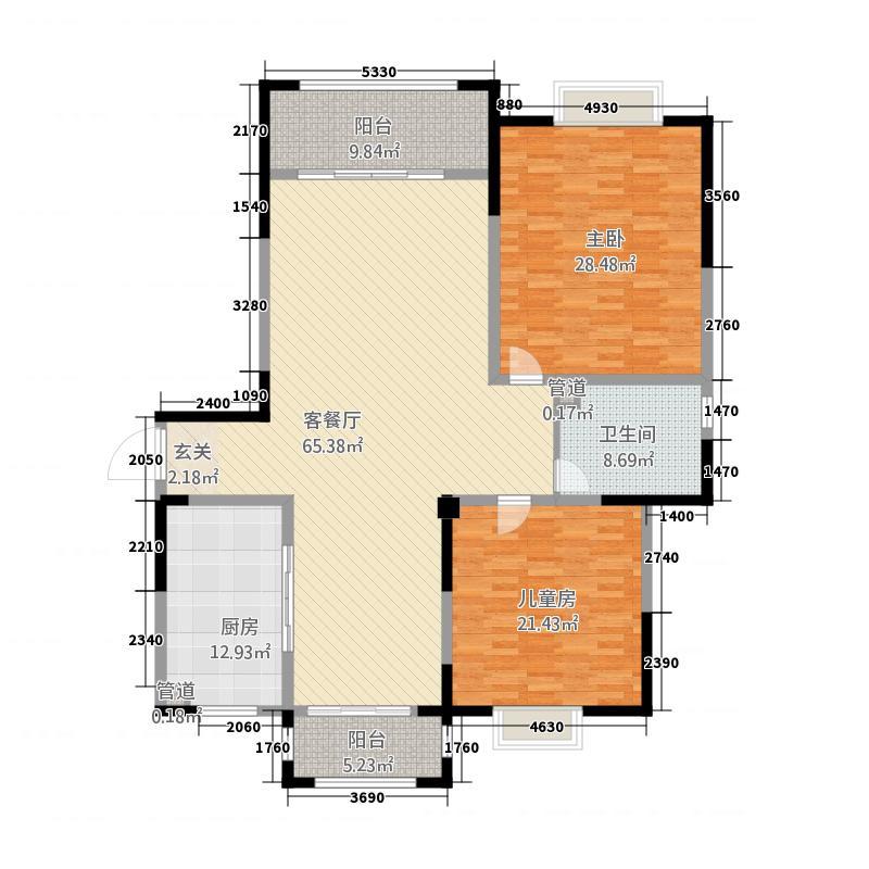 居豪馨城211.20㎡B户型2室2厅1卫1厨