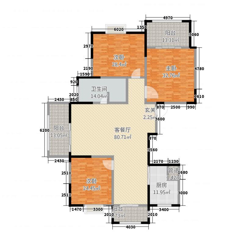 居豪馨城313.20㎡A户型3室2厅1卫1厨