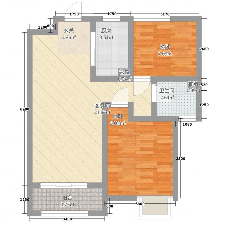 中海・华山珑城82.20㎡一期A区1-31#号楼标准层A户型2室2厅1卫1厨