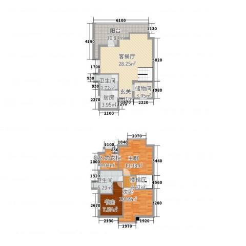 渭城风景3室1厅2卫1厨1369.00㎡户型图