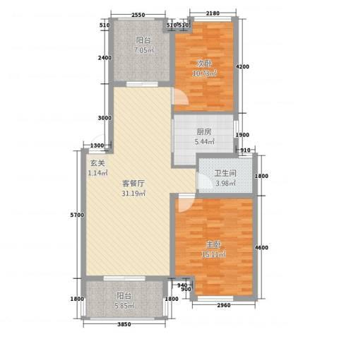 天湖丽景湾2室1厅1卫1厨79.35㎡户型图