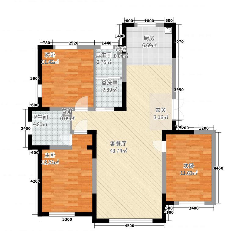 蓝色港湾11128.20㎡1号楼D-1户型3室2厅2卫1厨