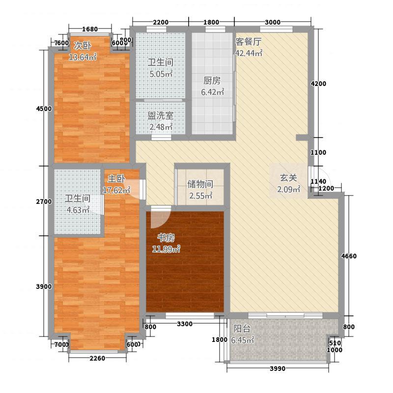 巨海城153.00㎡B户型3室2厅2卫1厨