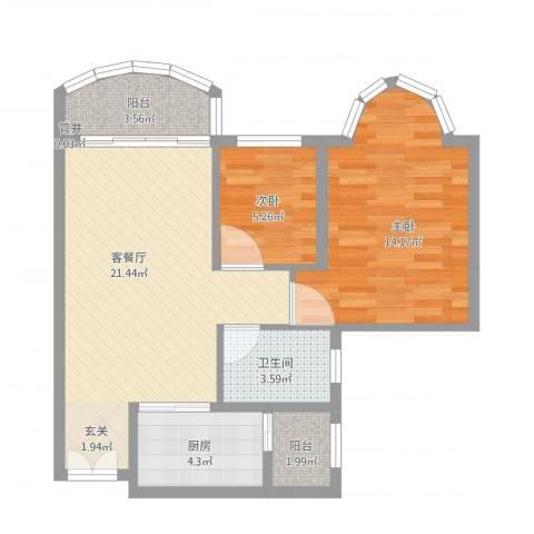 祈福新村倚湖湾2室1厅2卫1厨78.00㎡户型图
