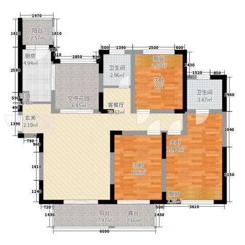 博海尚城3室1厅2卫1厨134.00㎡户型图