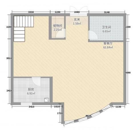 文澜尊邸1厅1卫1厨106.00㎡户型图