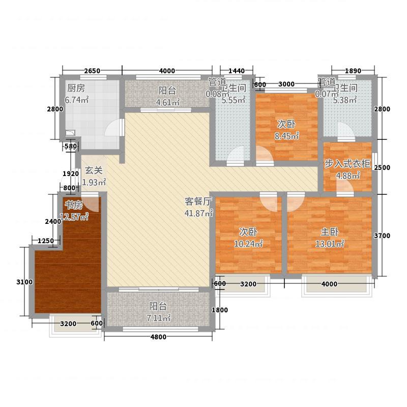 中海・华山珑城16.20㎡一期B区25-28#楼标准层E户型4室2厅2卫1厨