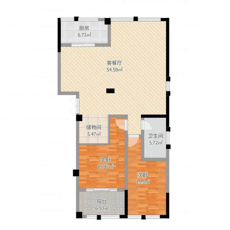 高新钦园6号楼C户型两房两厅一卫174.32方