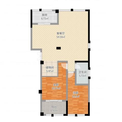 高新钦园2室1厅1卫1厨154.00㎡户型图