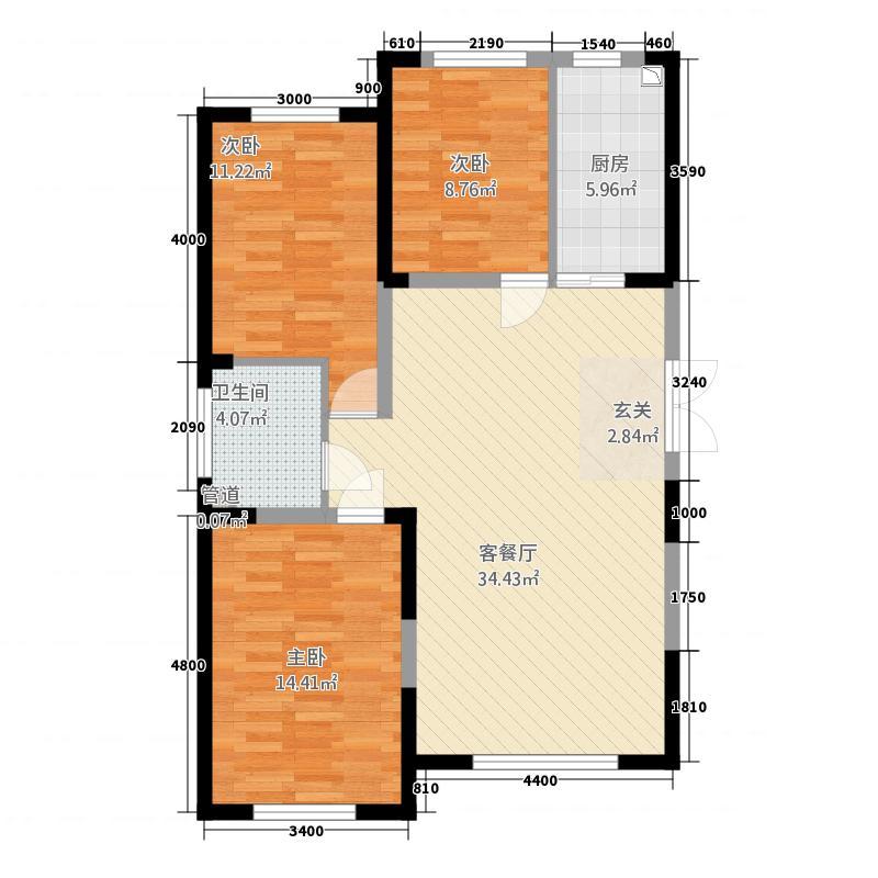 蓝色港湾1212.20㎡1号楼C-2户型3室2厅1卫