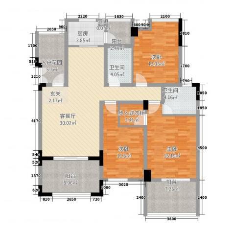 竣尊・御景国际3室1厅2卫1厨107.99㎡户型图