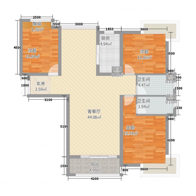 盛唐至尊12143.20㎡一期12号楼A户型3室2厅2卫1厨