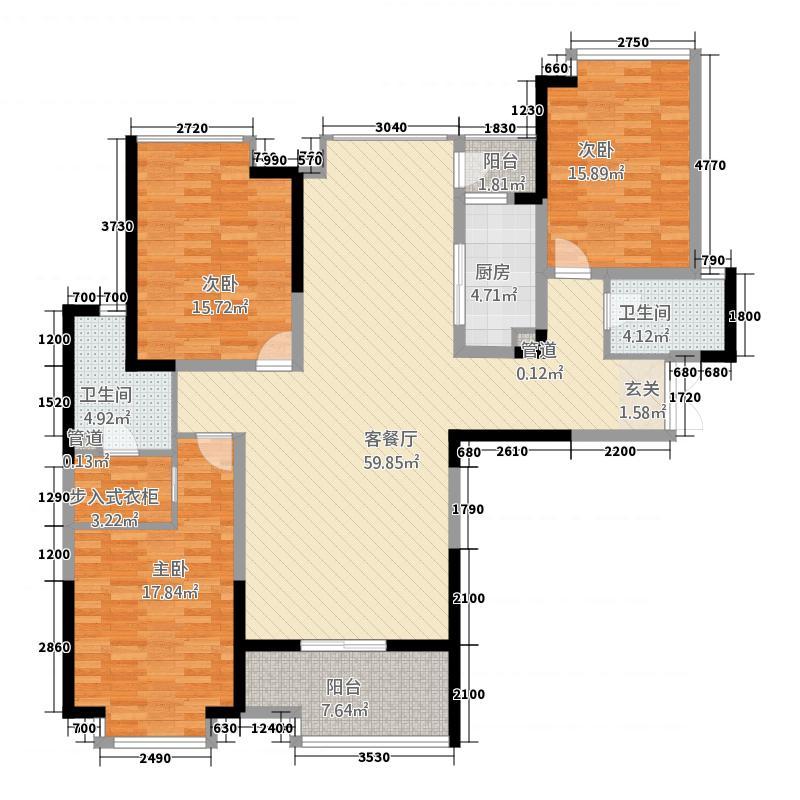 盛唐至尊1144.53㎡三期1号楼A4-01户型3室2厅2卫1厨