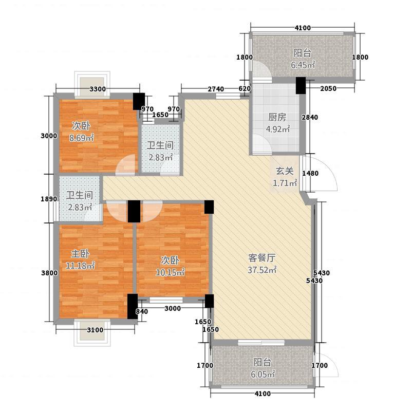 永昌状元第1322113.75㎡1#户型3室2厅2卫1厨