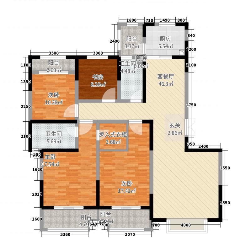 曲江・�邸3182.73㎡3号楼H户型4室2厅2卫1厨