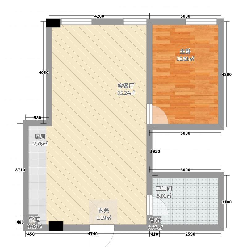 天正温泉公馆52.12㎡户型