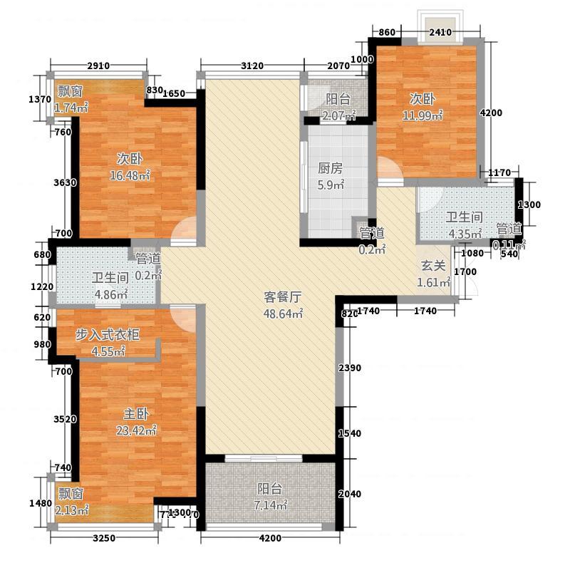 盛唐至尊1147.82㎡三期1号楼A2-01户型3室2厅2卫1厨