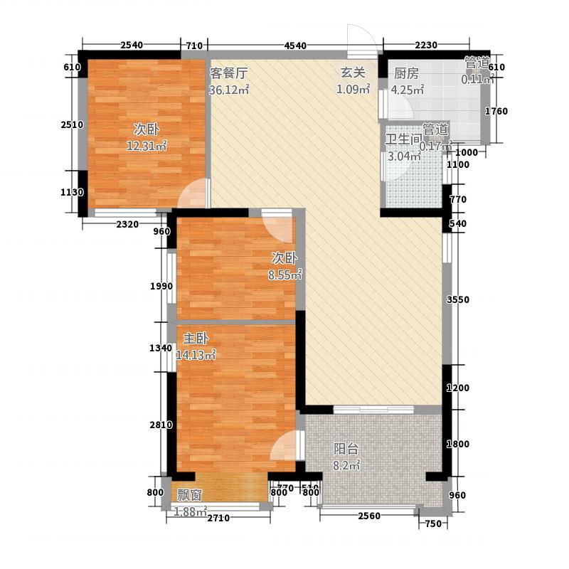 盛唐至尊115.42㎡三期1号楼A1-01户型3室2厅1卫1厨