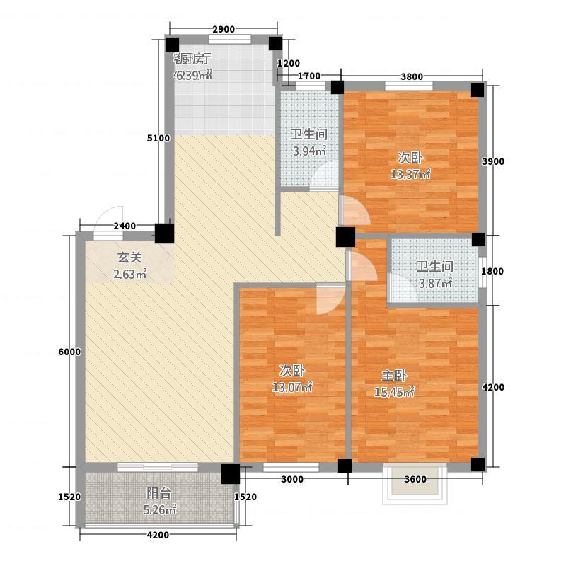 冠南汇侨城32124.52㎡户型3室2厅2卫1厨