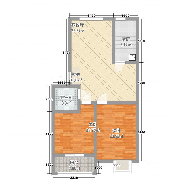 滨江星城362283.72㎡3-6号户型2室2厅1卫1厨