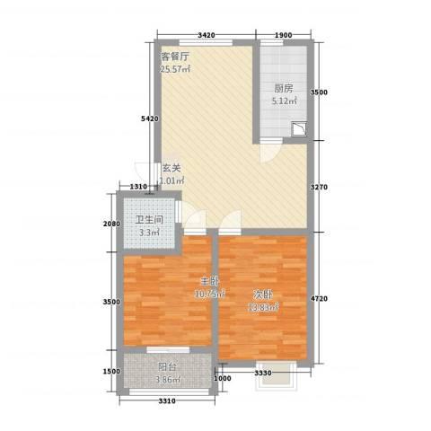 滨江星城2室1厅1卫1厨362284.00㎡户型图