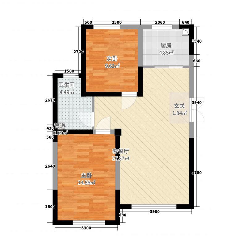 蓝色港湾141.20㎡1号楼B-4户型2室2厅1卫