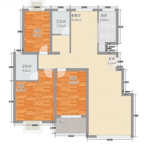 万方水岸3室1厅2卫1厨93.35㎡户型图