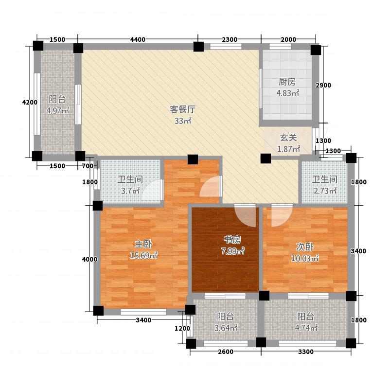 盛世御景1.20㎡V1库・11095户型3室2厅2卫