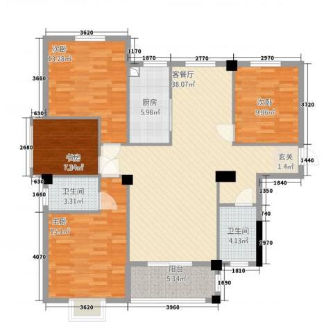 滨江星城4室1厅2卫1厨114135.00㎡户型图