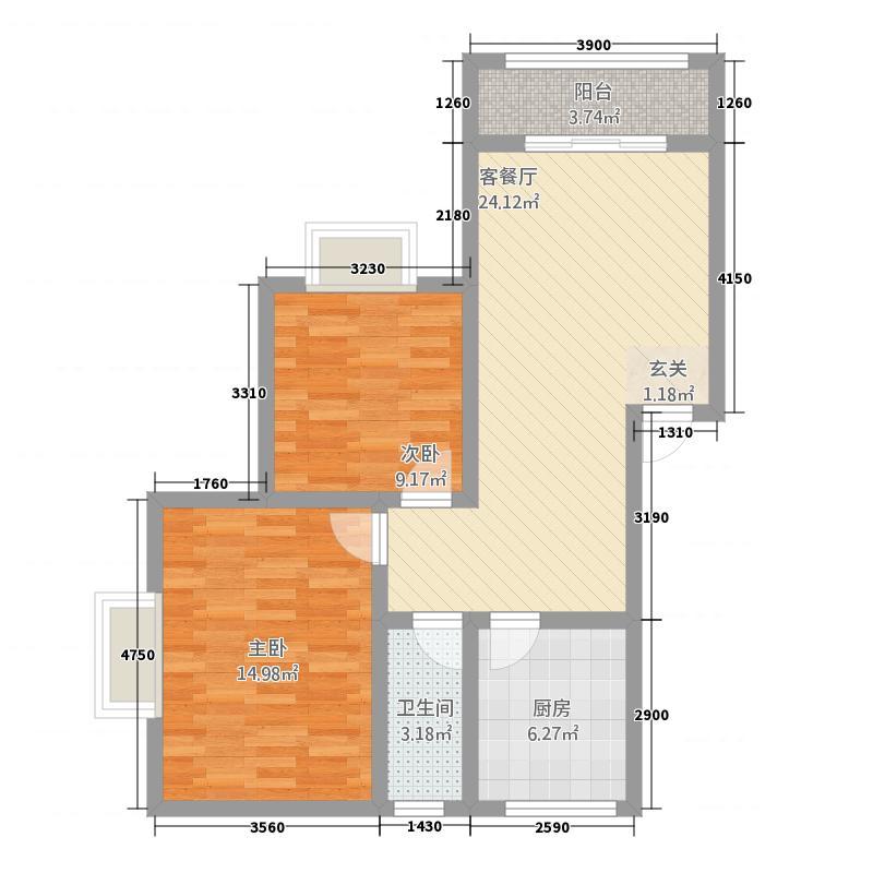 锋城名苑7.80㎡L平面14栋1单元户型2室2厅1卫1厨