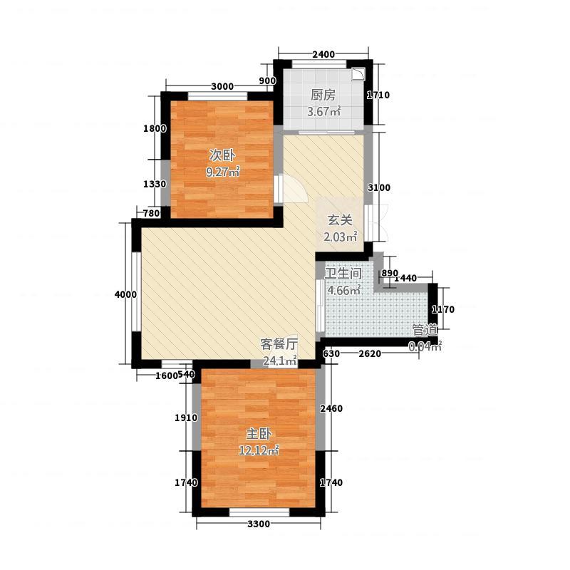 蓝色港湾118.20㎡1号楼B-1户型2室2厅1卫