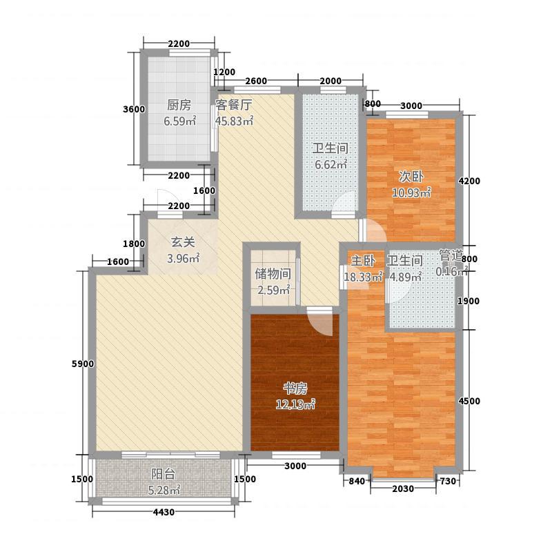 巨海城156.00㎡5J户型3室2厅2卫1厨