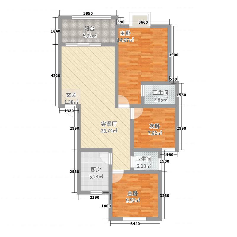 锋城名苑5.00㎡M平面图14号楼一单元户型3室2厅1卫1厨