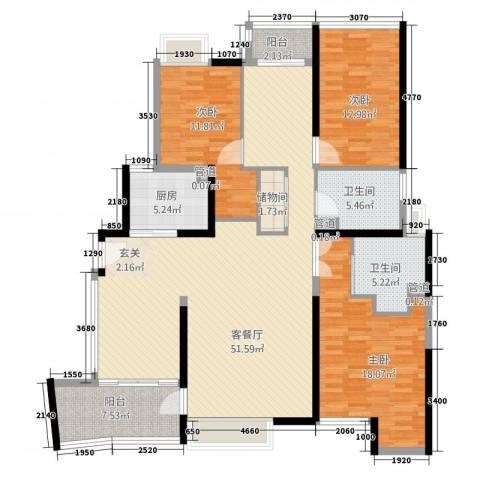 金河雅苑3室1厅2卫1厨172.00㎡户型图