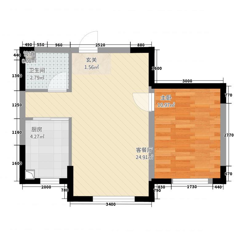 蓝色港湾1263.20㎡1号楼A-2户型1室2厅1卫