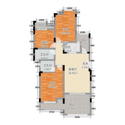 竣尊・御景国际3室1厅2卫1厨100.71㎡户型图