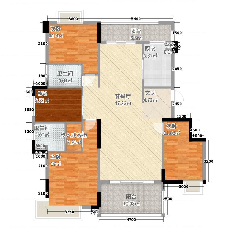 开平汇景湾81138.20㎡8幢、10幢B型单位户型4室2厅2卫1厨