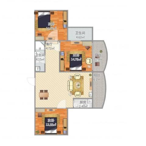 中南花园3室1厅2卫1厨108.00㎡户型图