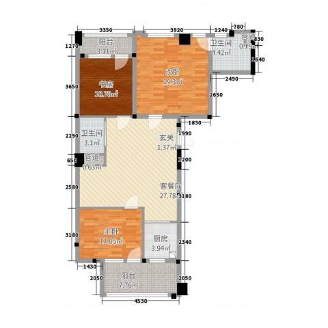 攀华国际广场3室1厅2卫1厨133.00㎡户型图