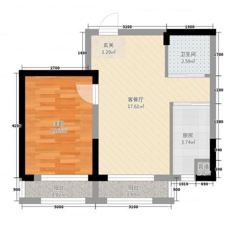 蓝色港湾1室1厅1卫1厨53.00㎡户型图