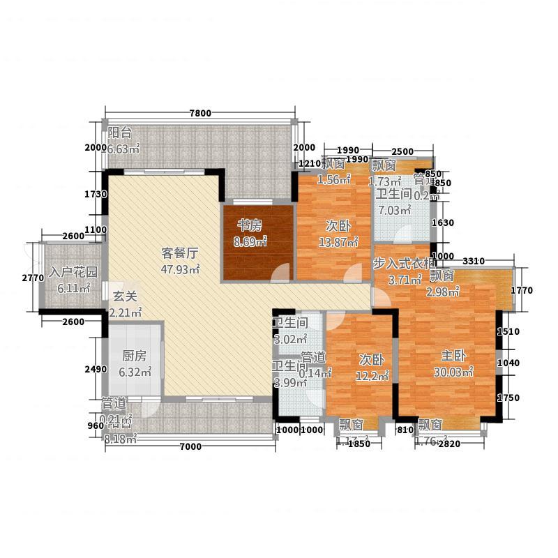 东方明珠818.20㎡8座标准层02户型4室2厅3卫