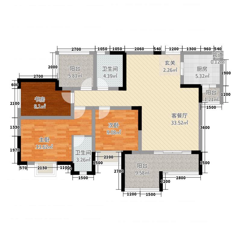 昌龙阳光尚城4114.22㎡一期4幢标准层4-3户型3室2厅2卫1厨