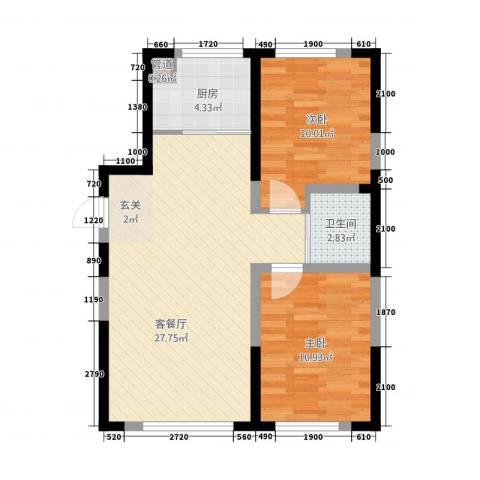 蓝色港湾2室1厅1卫1厨85.00㎡户型图