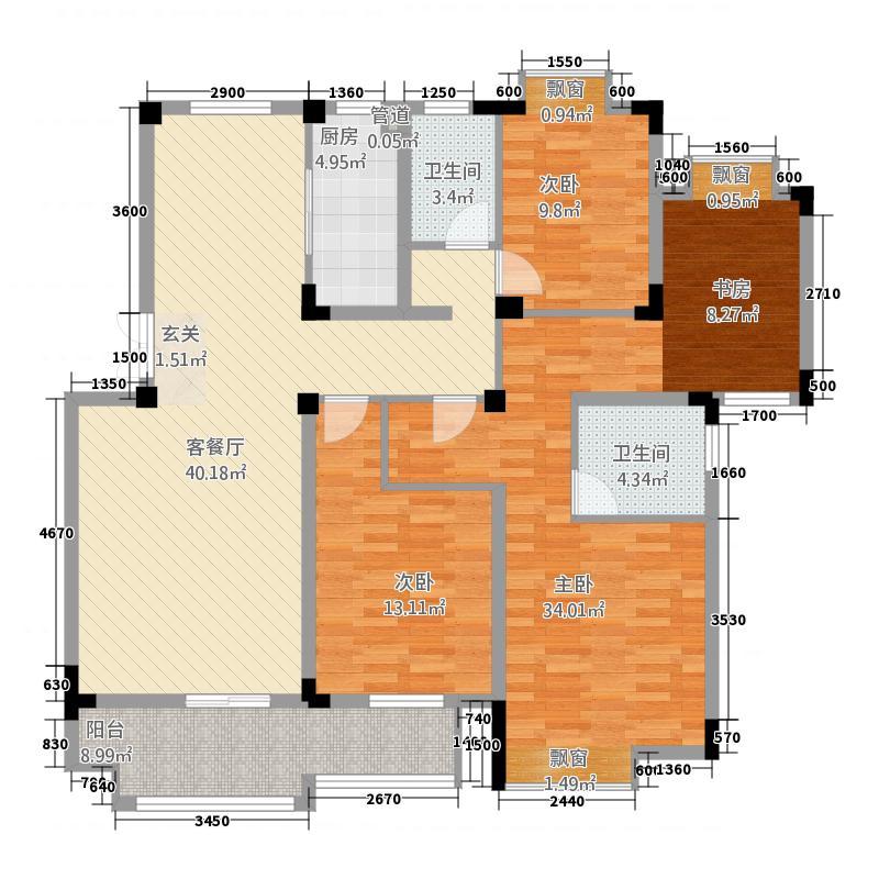 东方华庭23138.72㎡WD2户型3室2厅2卫1厨