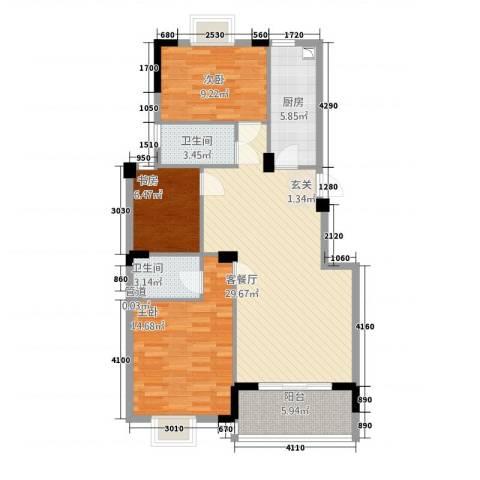 滨江星城3室1厅2卫1厨221319.00㎡户型图