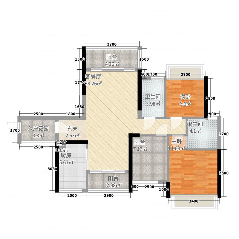 君汇名城221.87㎡22幢标准层06户型3室2厅2卫1厨